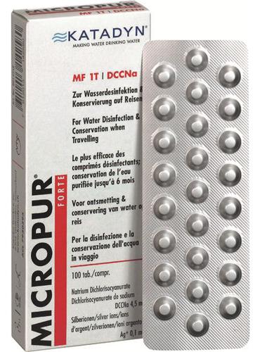 Katadyn Micropur Forte mf1t 100 Comprimés Eau Désinfection Traitement de l/'eau